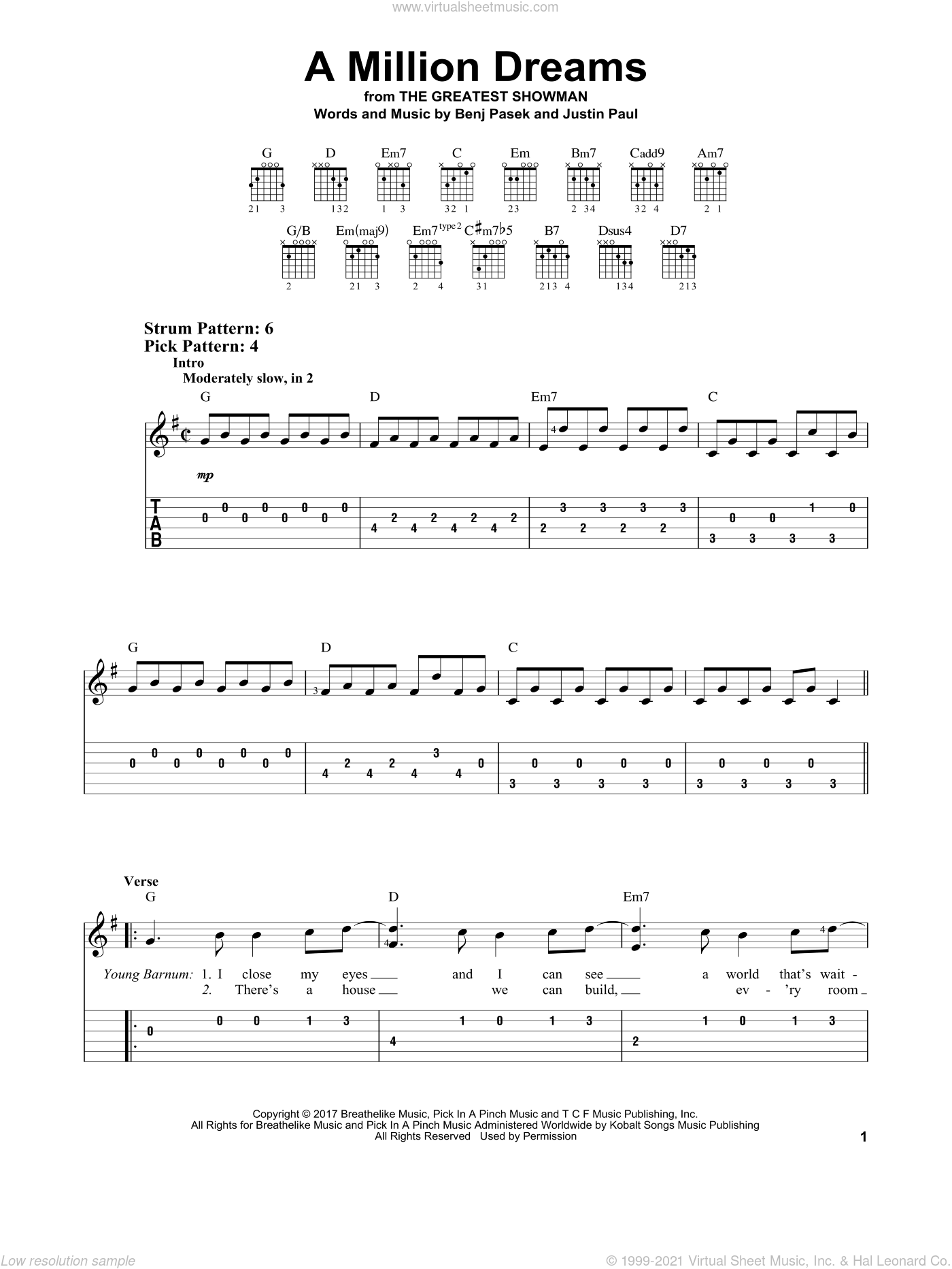A Million Dreams (from The Greatest Showman) sheet music for guitar solo (easy tablature) by Pasek & Paul, Benj Pasek and Justin Paul, easy guitar (easy tablature)