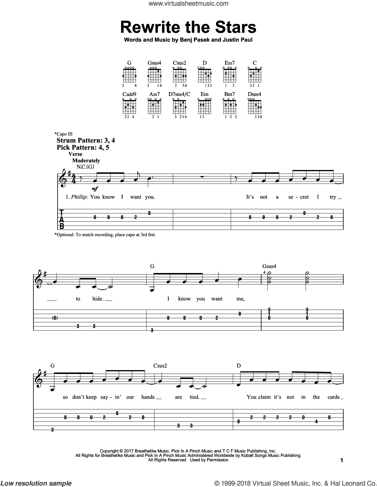 Rewrite The Stars sheet music for guitar solo (easy tablature) by Justin Paul, Zac Efron & Zendaya, Benj Pasek and Pasek & Paul, easy guitar (easy tablature)