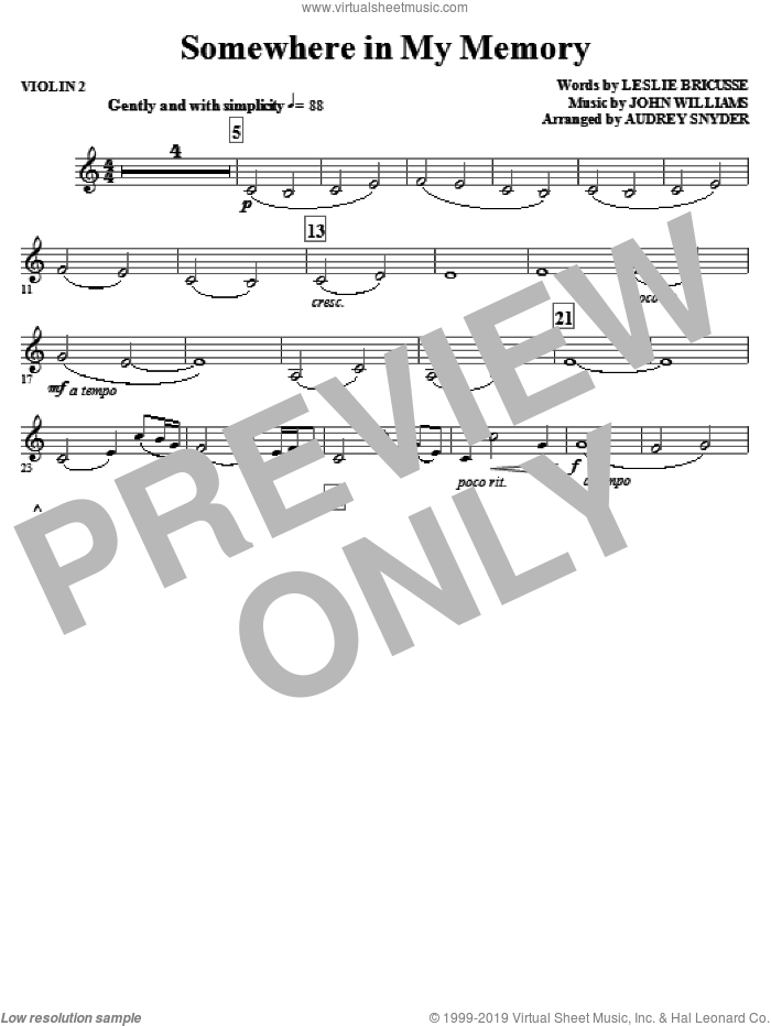 Somewhere in My Memory sheet music for orchestra/band (violin 2) by John Williams
