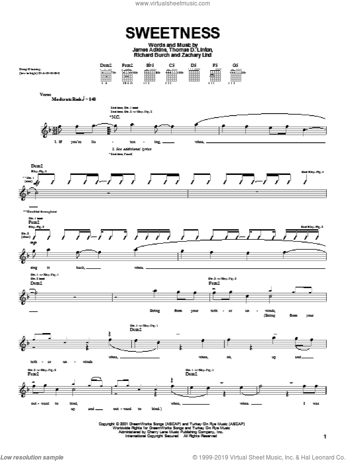 Sweetness sheet music for guitar (tablature) by Thomas D. Linton. Score Image Preview.