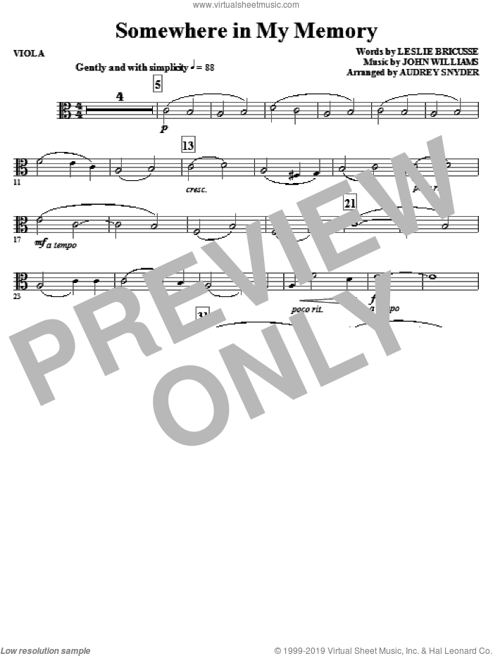 Somewhere in My Memory (arr. Audrey Snyder) sheet music for orchestra/band (viola) by John Williams, Leslie Bricusse and Audrey Snyder, intermediate skill level