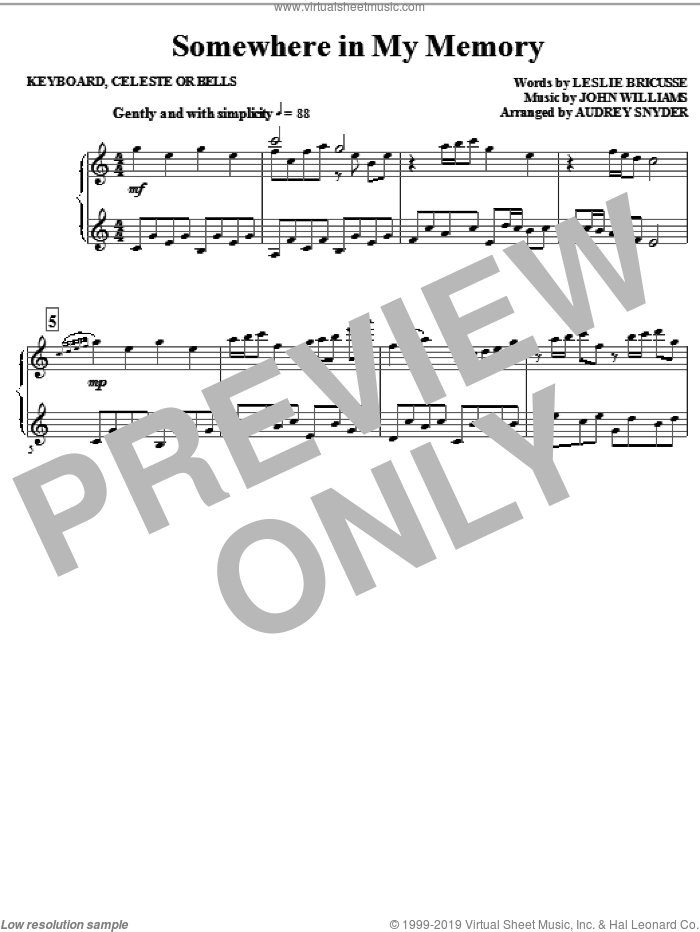 Somewhere in My Memory (arr. Audrey Snyder) sheet music for orchestra/band (keyboard) by John Williams, Leslie Bricusse and Audrey Snyder, intermediate skill level