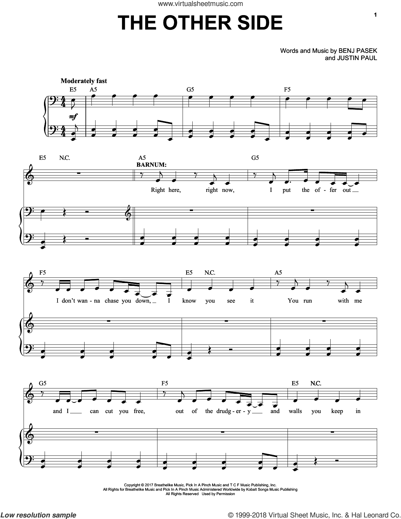The Other Side sheet music for voice and piano by Pasek & Paul, Benj Pasek and Justin Paul, intermediate skill level
