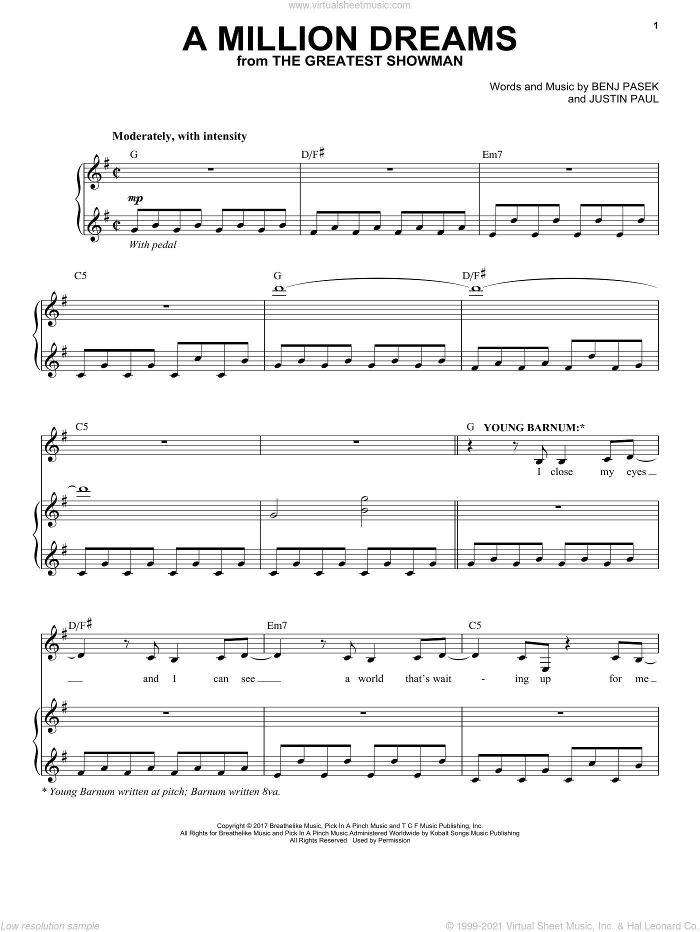 A Million Dreams (from The Greatest Showman) sheet music for voice and piano by Justin Paul, Benj Pasek and Pasek & Paul, intermediate skill level