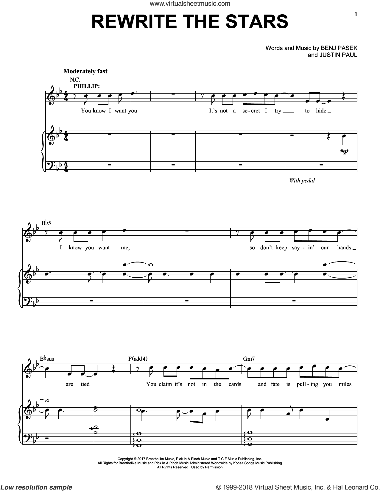 Rewrite The Stars (from The Greatest Showman) sheet music for voice and piano by Pasek & Paul, Zac Efron & Zendaya, Benj Pasek and Justin Paul, intermediate skill level