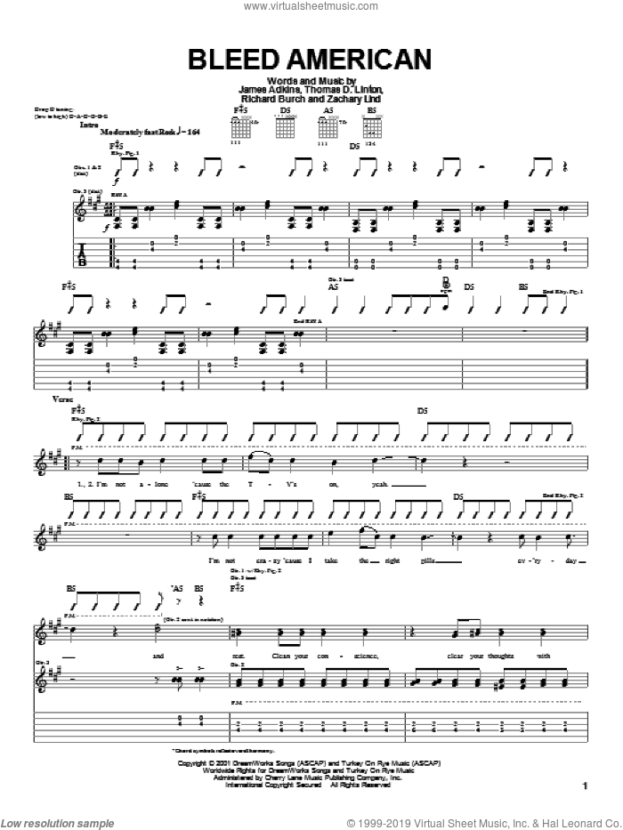 Bleed American sheet music for guitar (tablature) by Thomas D. Linton. Score Image Preview.