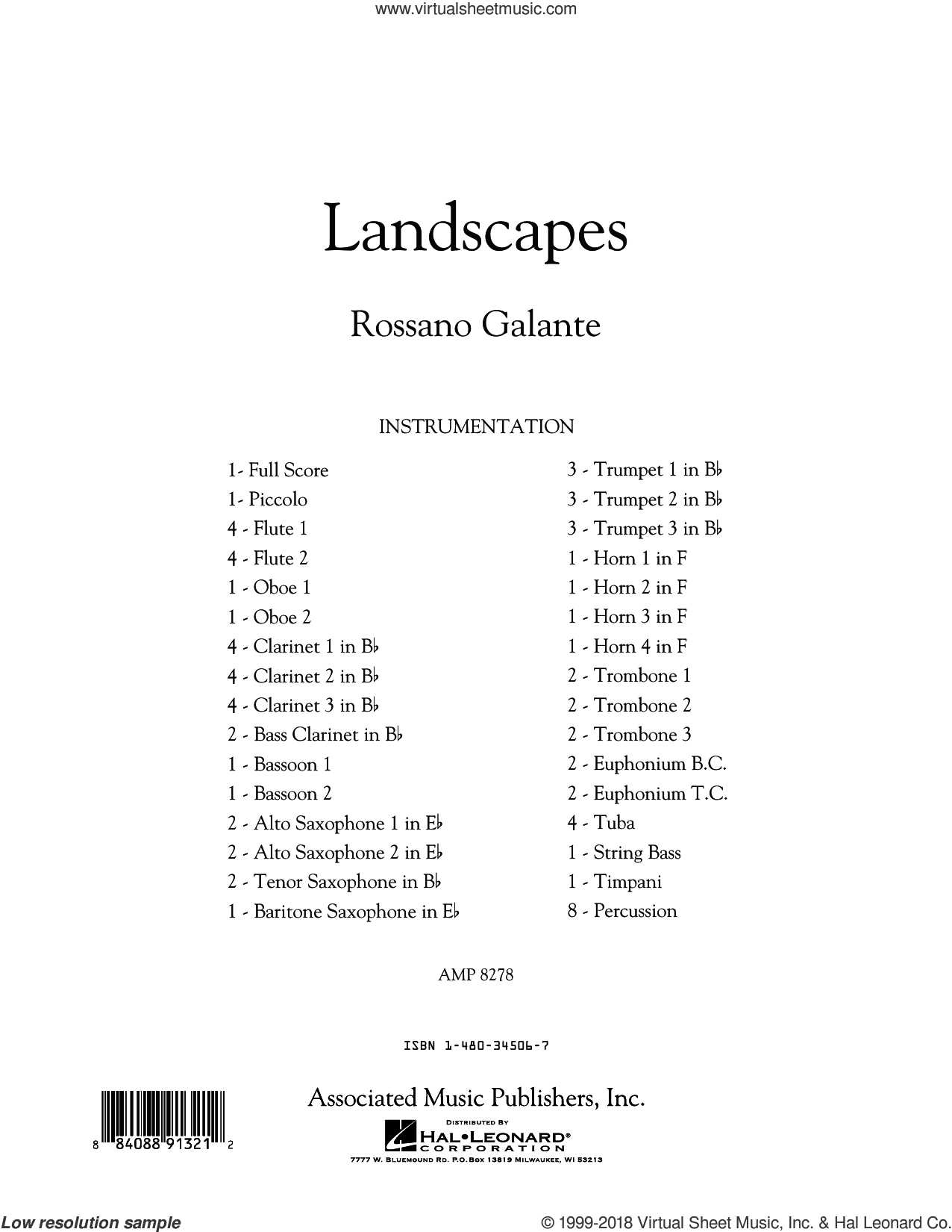 Landscapes (COMPLETE) sheet music for concert band by Rossano Galante, intermediate skill level