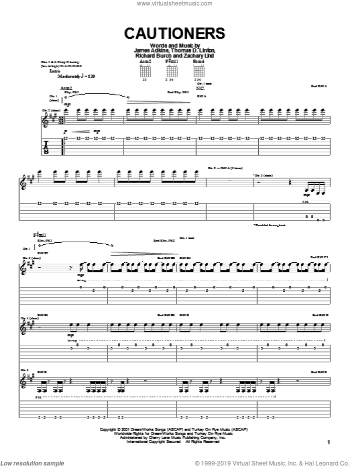 Cautioners sheet music for guitar (tablature) by Thomas D. Linton. Score Image Preview.