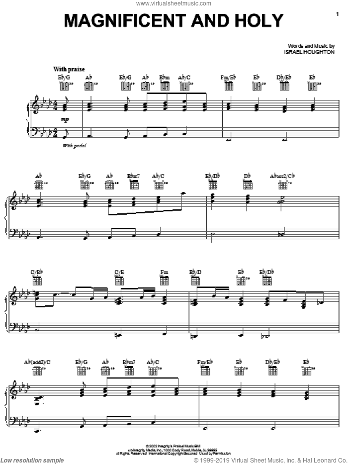 Magnificent And Holy sheet music for voice, piano or guitar by Israel Houghton, intermediate. Score Image Preview.