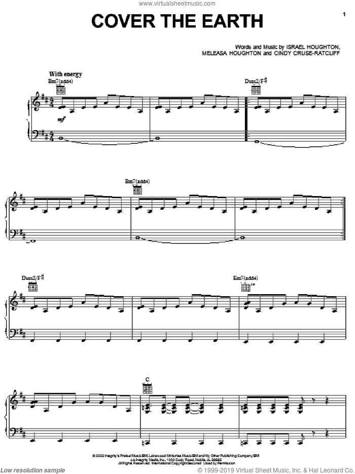 Cover The Earth sheet music for voice, piano or guitar by Israel Houghton, Cindy Cruse-Ratcliff and Meleasa Houghton, intermediate skill level