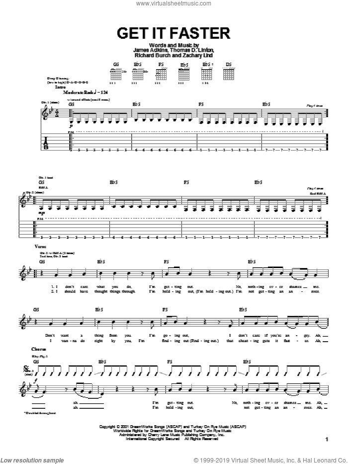 Get It Faster sheet music for guitar (tablature) by Thomas D. Linton. Score Image Preview.
