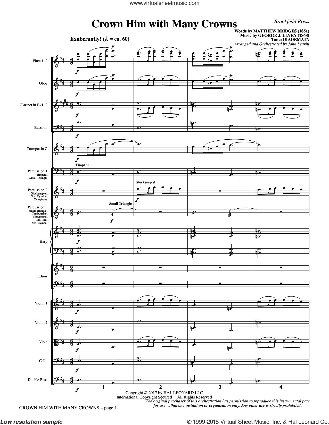 Crown Him with Many Crowns (COMPLETE) sheet music for orchestra/band by John Leavitt, George Job Elvey, Godfrey Thring and Matthew Bridges, intermediate skill level