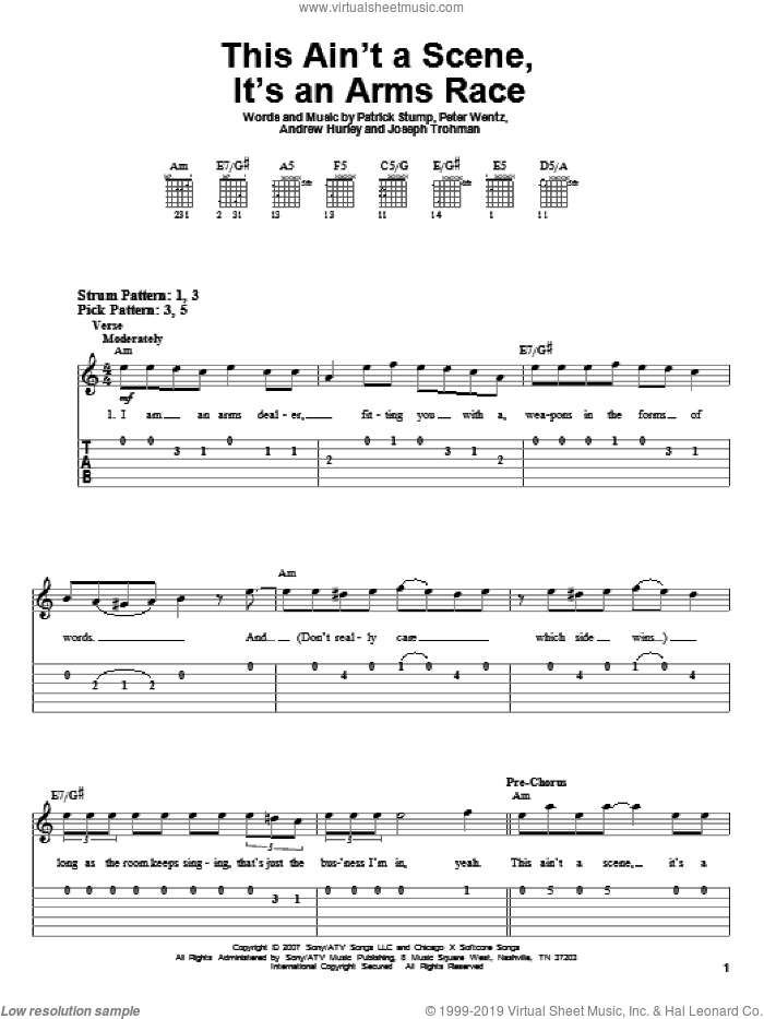 This Ain't A Scene, It's An Arms Race sheet music for guitar solo (easy tablature) by Peter Wentz, Fall Out Boy and Andrew Hurley. Score Image Preview.