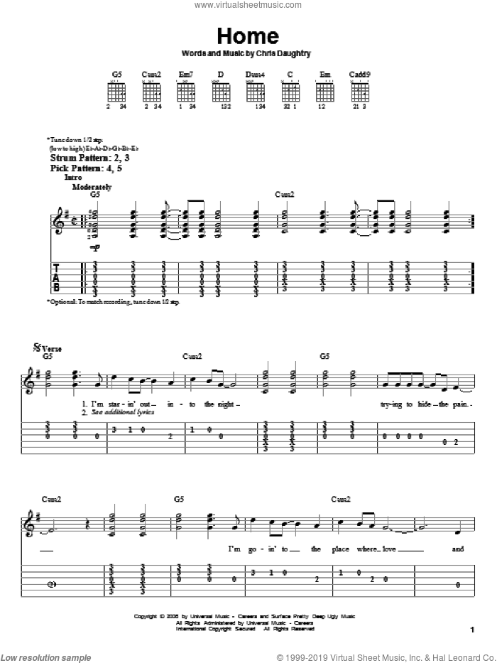 Home sheet music for guitar solo (easy tablature) by Daughtry and Chris Daughtry, easy guitar (easy tablature)