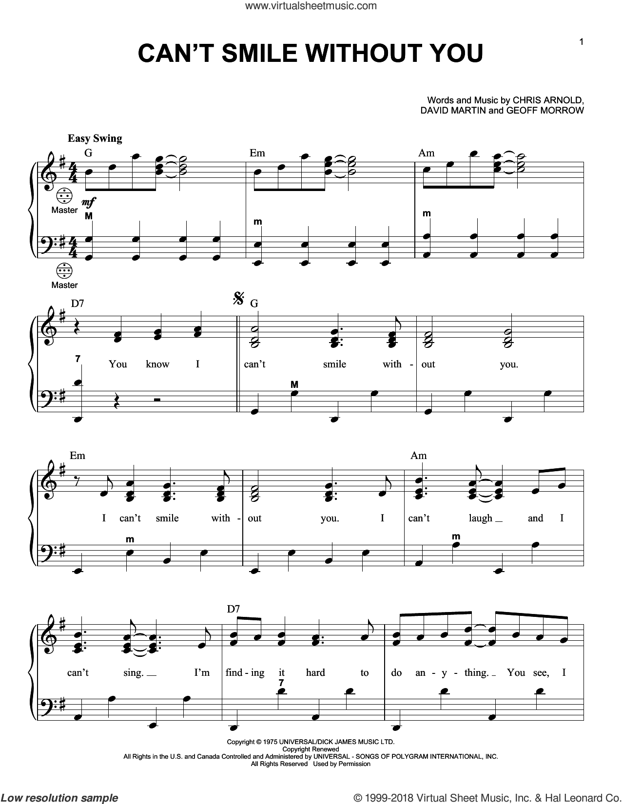 Can't Smile Without You sheet music for accordion by Barry Manilow, Chris Arnold, David Martin and Geoff Morrow, intermediate skill level