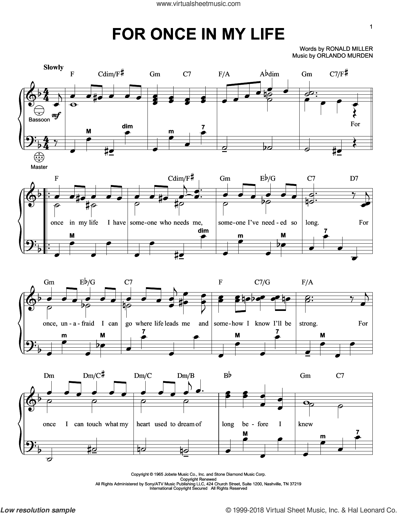For Once In My Life sheet music for accordion by Stevie Wonder, Orlando Murden and Ron Miller, intermediate skill level