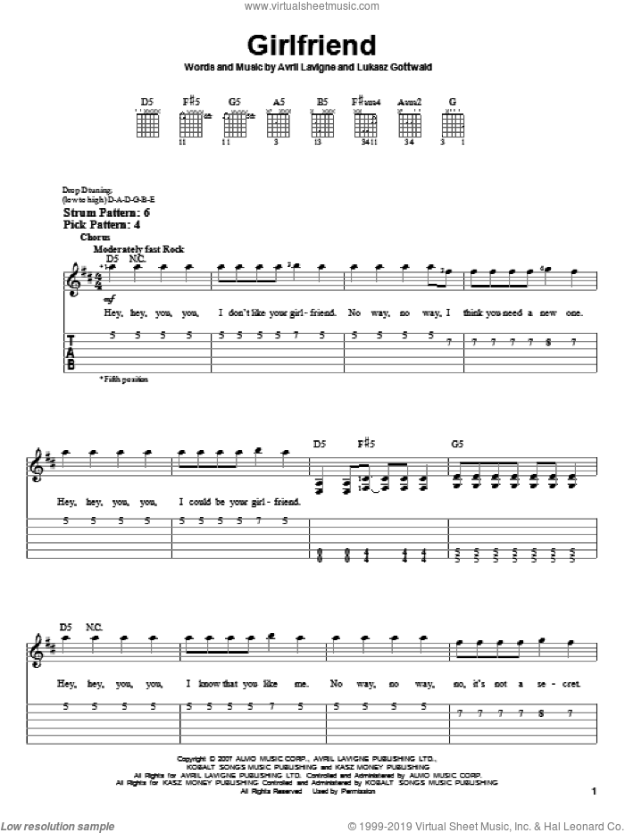 Girlfriend sheet music for guitar solo (easy tablature) by Avril Lavigne and Lukasz Gottwald, easy guitar (easy tablature). Score Image Preview.