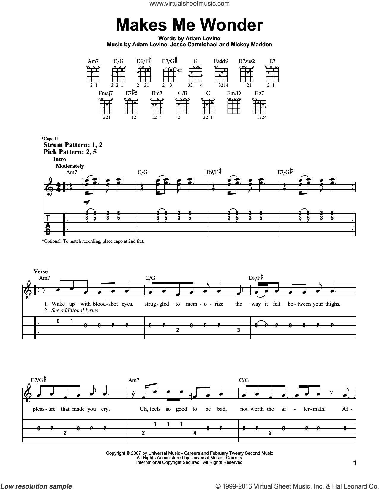 Makes Me Wonder sheet music for guitar solo (easy tablature) by Michael Madden