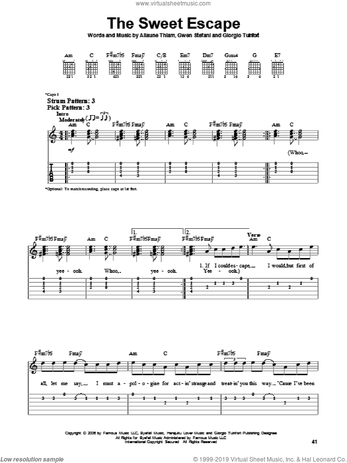 The Sweet Escape sheet music for guitar solo (easy tablature) by Gwen Stefani featuring Akon, Akon, Aliaune Thiam, Giorgio Tuinfort and Gwen Stefani, easy guitar (easy tablature)