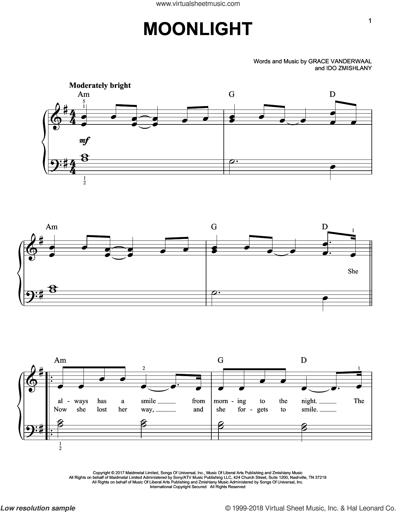 Moonlight sheet music for piano solo by Grace VanderWaal and Ido Zmishlany, easy skill level