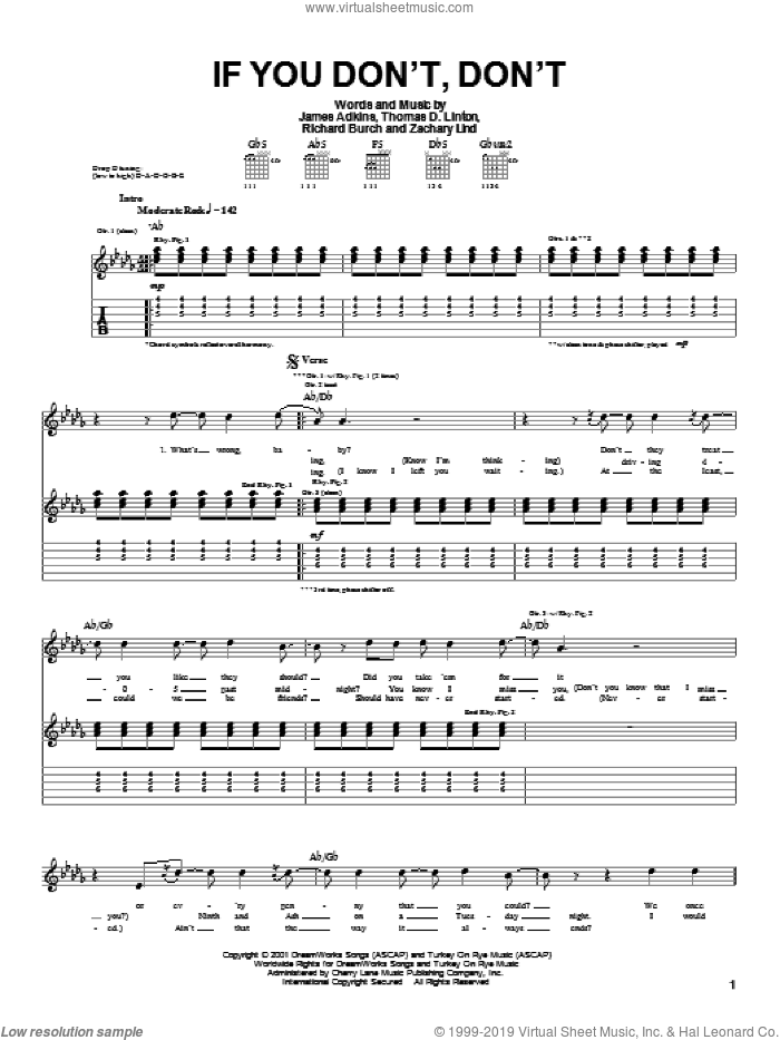 If You Don't, Don't sheet music for guitar (tablature) by Jimmy Eat World, James Adkins and Richard Burch. Score Image Preview.