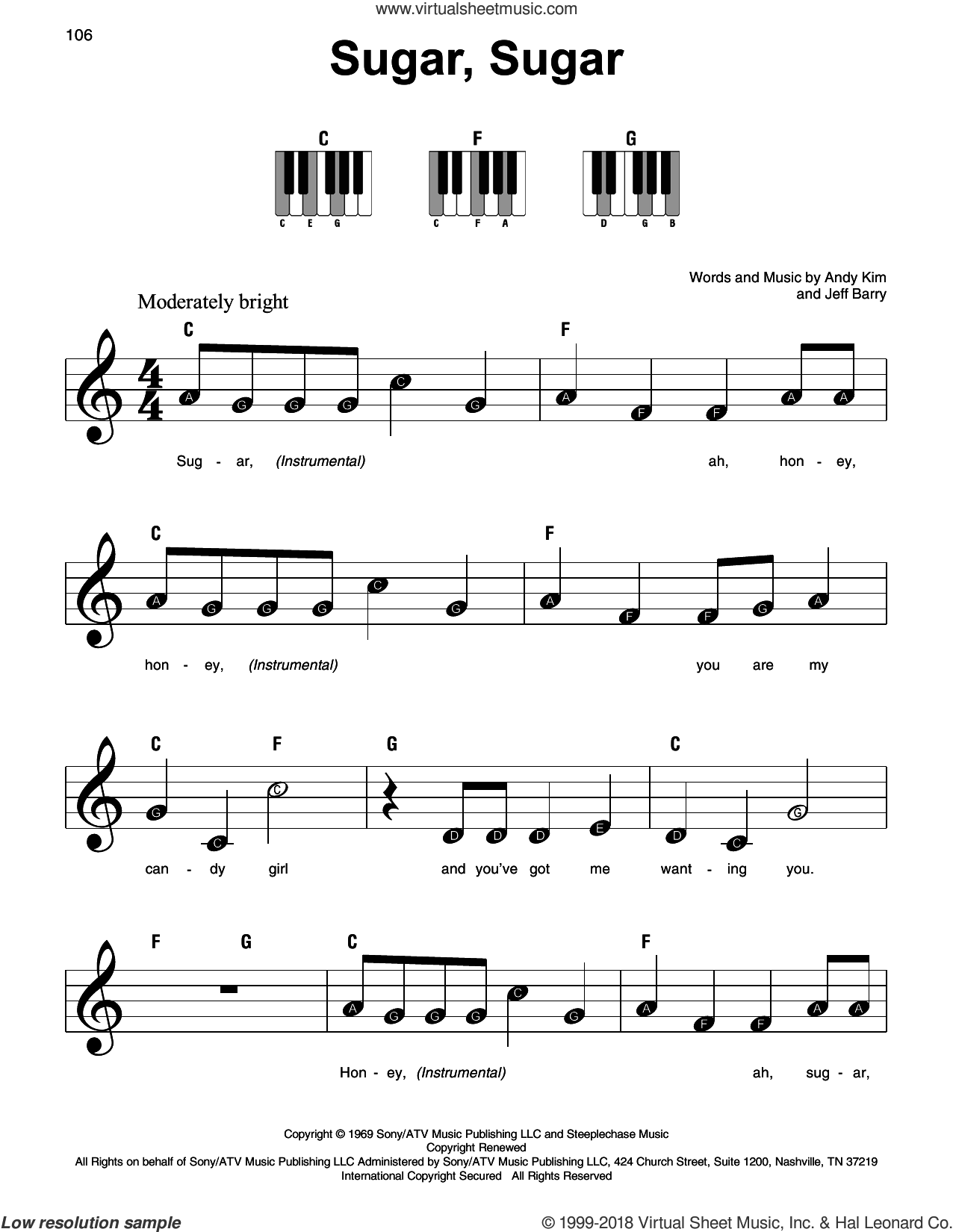 Sugar, Sugar sheet music for piano solo by The Archies, Andy Kim and Jeff Barry, beginner skill level