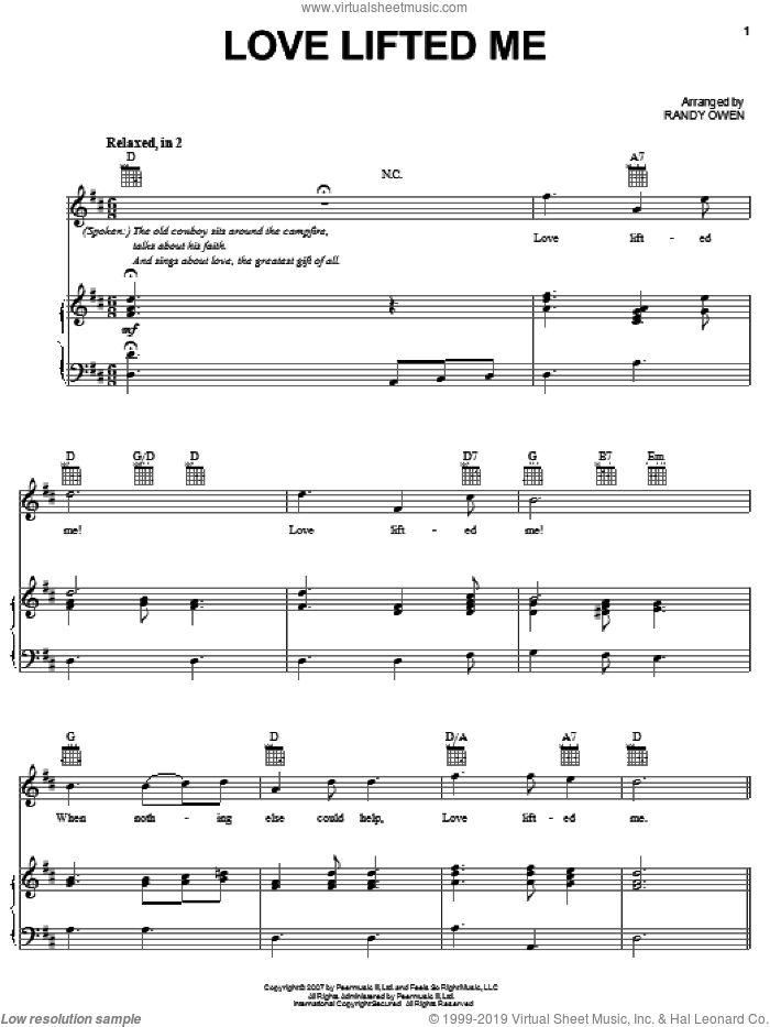 Love Lifted Me sheet music for voice, piano or guitar by Randy Owen and Alabama. Score Image Preview.
