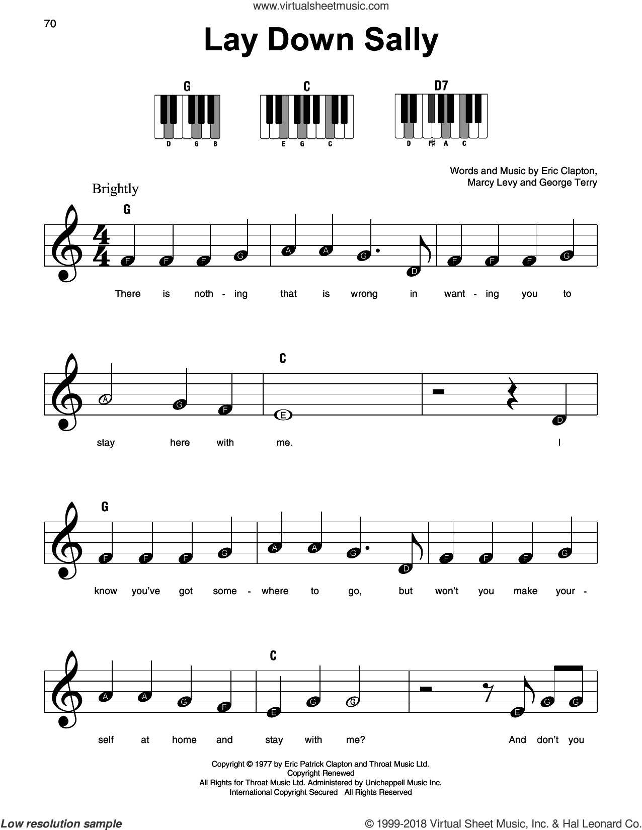 Lay Down Sally sheet music for piano solo by Eric Clapton, George Terry and Marcy Levy, beginner skill level