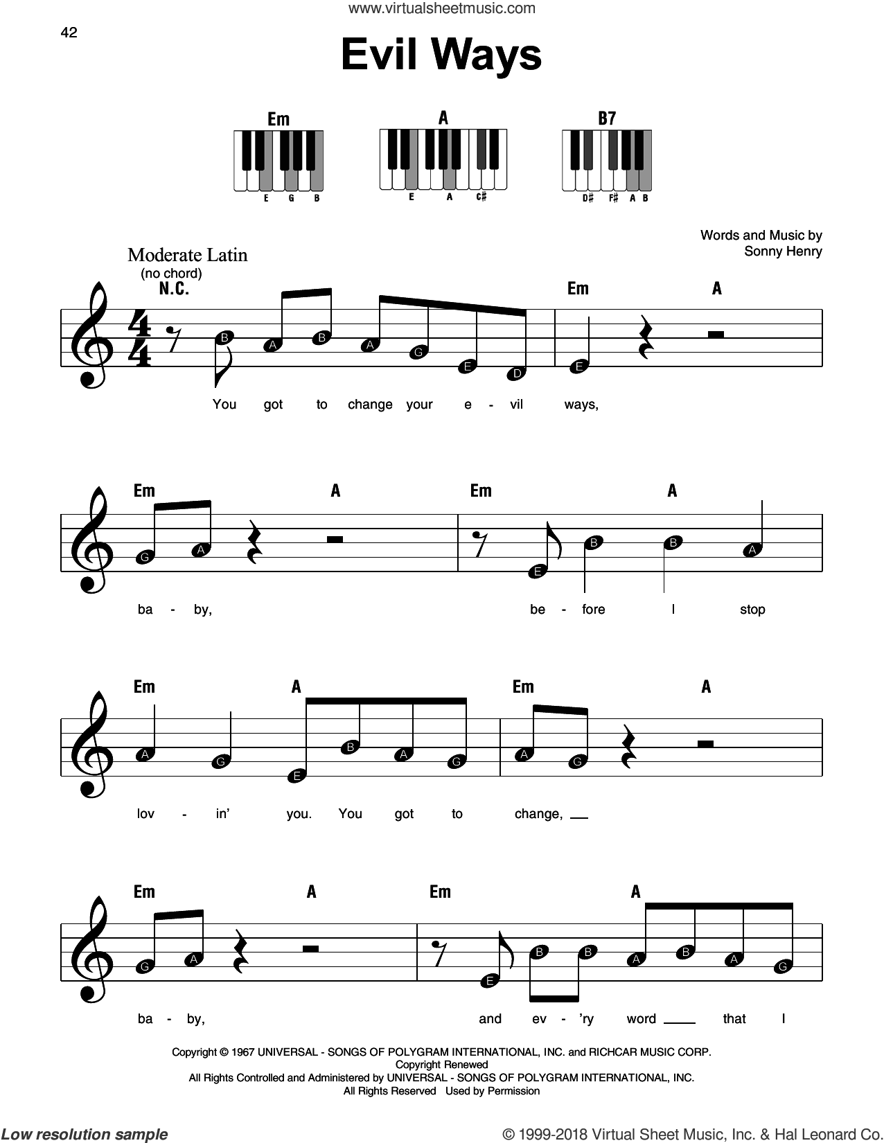 Evil Ways sheet music for piano solo by Carlos Santana and Sonny Henry, beginner skill level