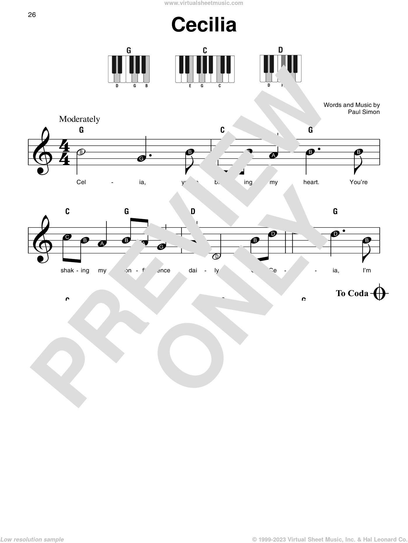 Cecilia sheet music for piano solo by Simon & Garfunkel and Paul Simon, beginner skill level