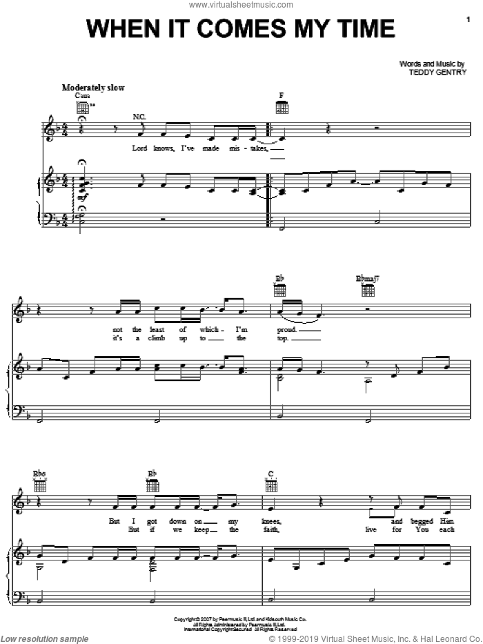 When It Comes My Time sheet music for voice, piano or guitar by Alabama and Teddy Gentry, intermediate skill level