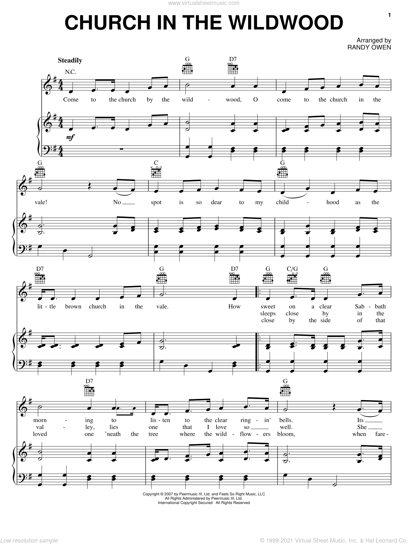 Church In The Wildwood sheet music for voice, piano or guitar by Alabama and Randy Owen, intermediate skill level