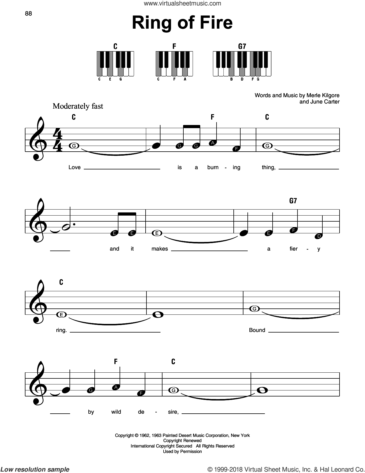 Ring Of Fire sheet music for piano solo by Johnny Cash, June Carter and Merle Kilgore, beginner skill level
