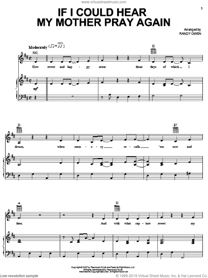 If I Could Hear My Mother Pray Again sheet music for voice, piano or guitar by Alabama and Randy Owen, intermediate skill level