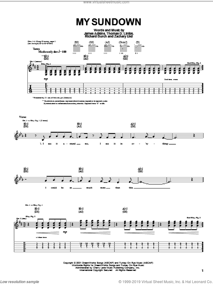 My Sundown sheet music for guitar (tablature) by Thomas D. Linton. Score Image Preview.