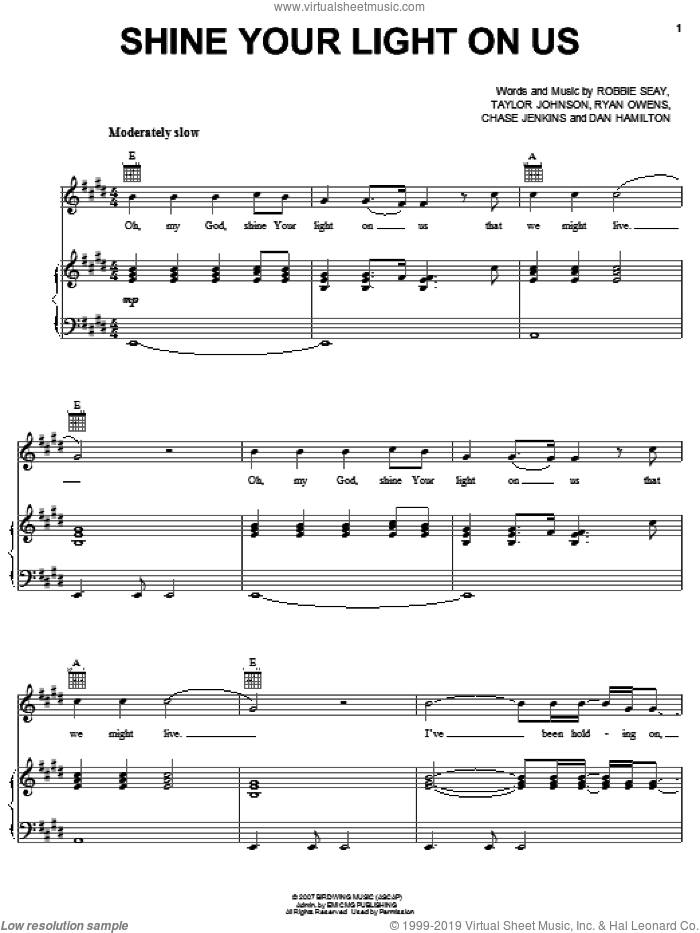 Shine Your Light On Us sheet music for voice, piano or guitar by Robbie Seay Band, Chase Jenkins, Dan Hamilton, Robbie Seay, Ryan Owens and Taylor Johnson, intermediate skill level