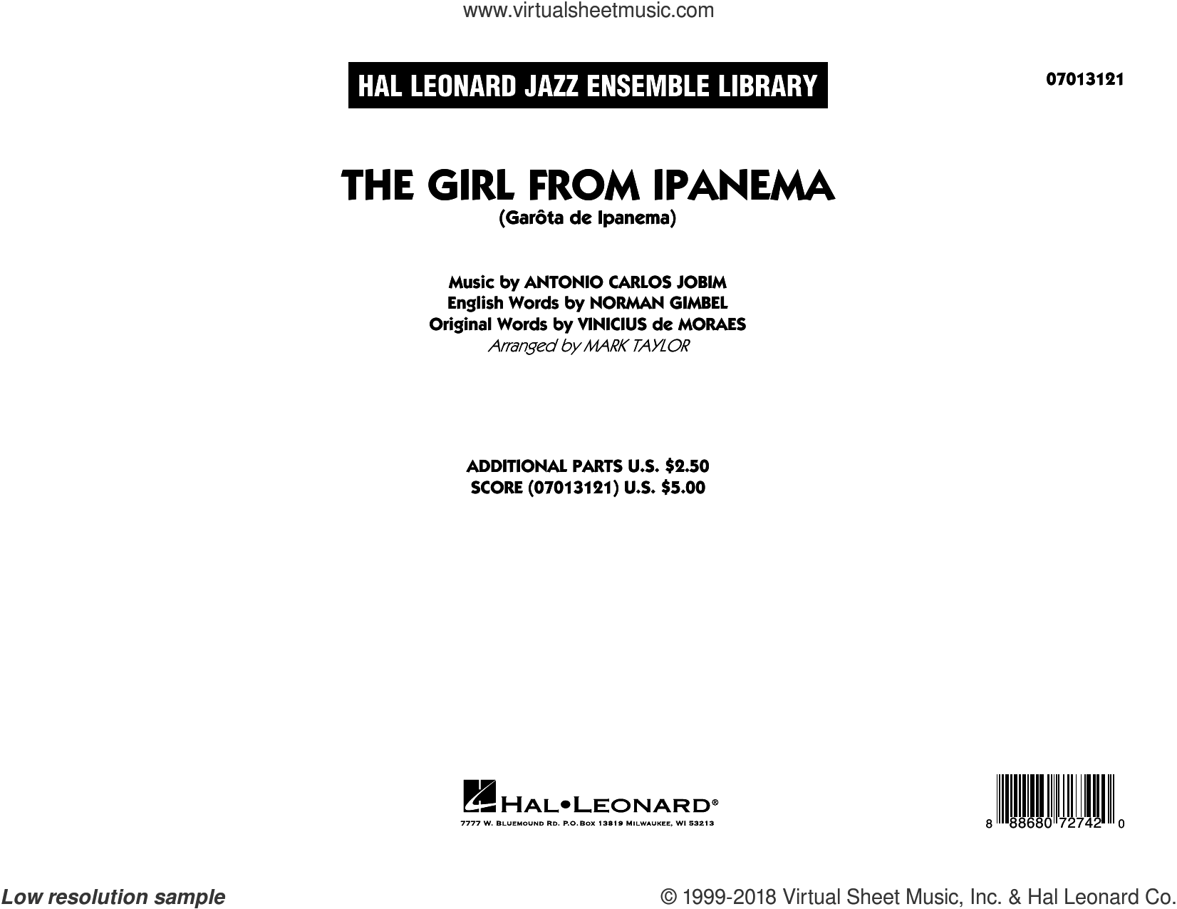 The Girl from Ipanema (COMPLETE) sheet music for jazz band by Norman Gimbel, Antonio Carlos Jobim, Mark Taylor, Stan Getz & Astrud Gilberto and Vinicius de Moraes, intermediate skill level