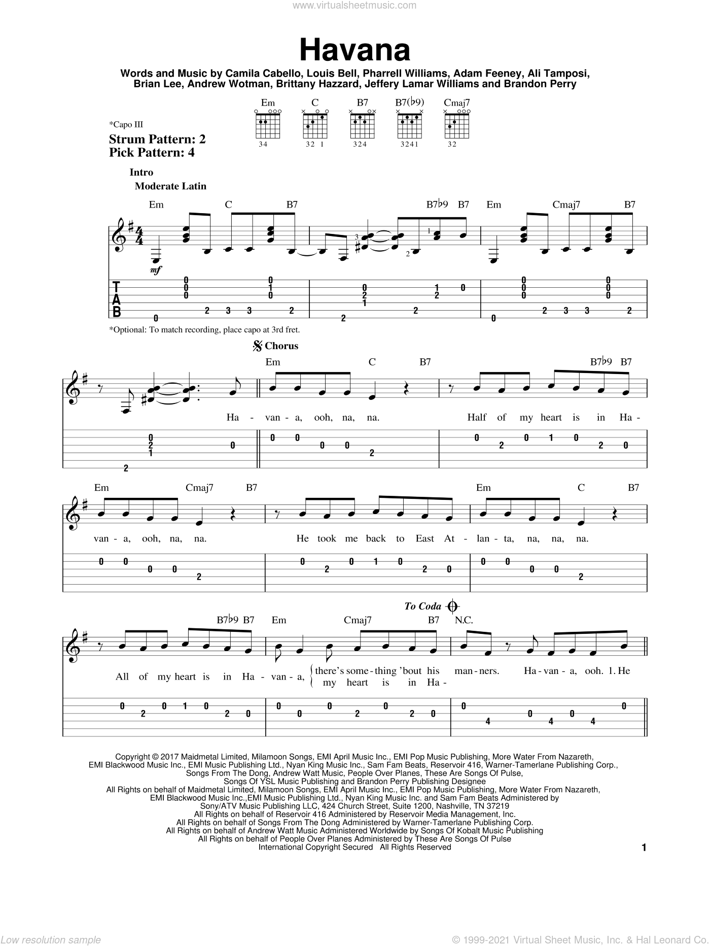 Havana sheet music for guitar solo (easy tablature) by Camila Cabello, Adam Feeney, Ali Tamposi, Andrew Wotman, Brandon Perry, Brian Lee, Brittany Hazzard, Jeffery Lamar Williams, Louis Bell and Pharrell Williams, easy guitar (easy tablature)