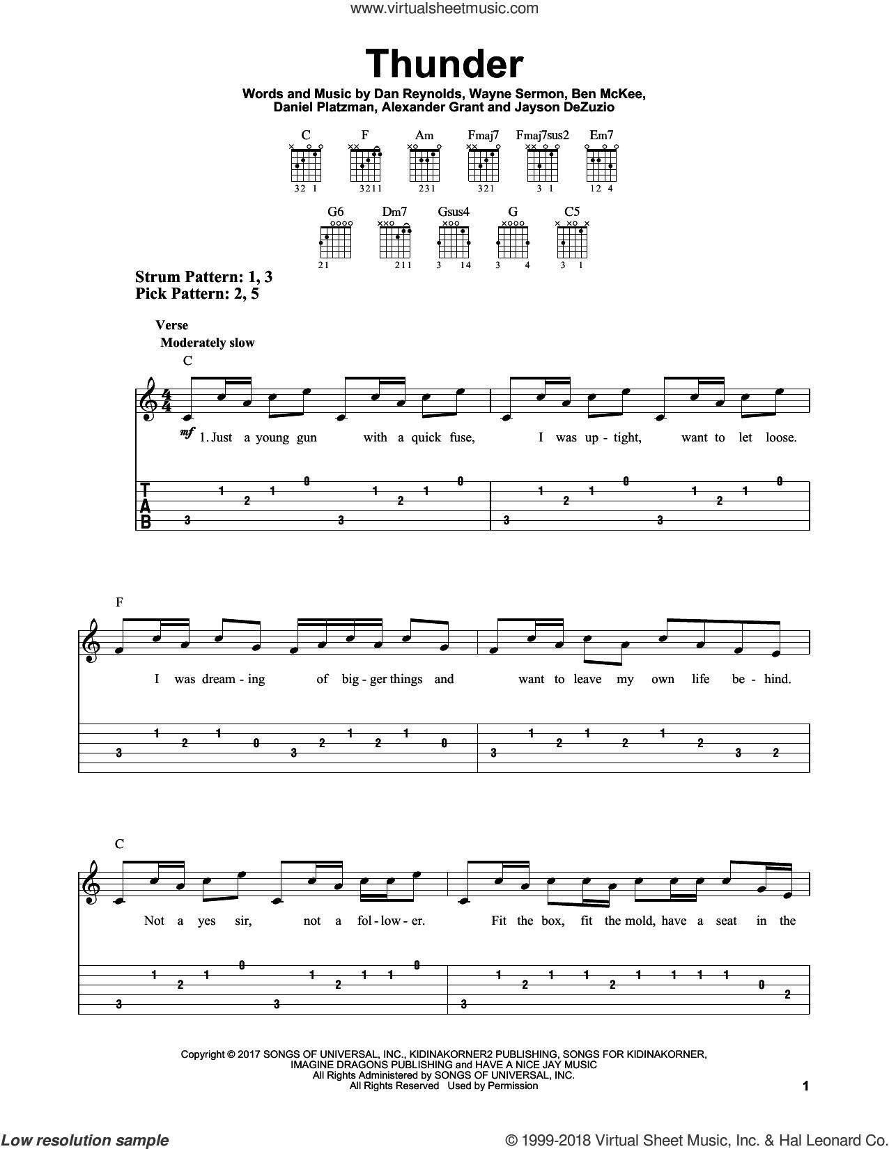 Thunder sheet music for guitar solo (easy tablature) by Imagine Dragons, Alexander Grant, Ben McKee, Dan Reynolds, Daniel Platzman, Jayson Dezuzio and Wayne Sermon, easy guitar (easy tablature)