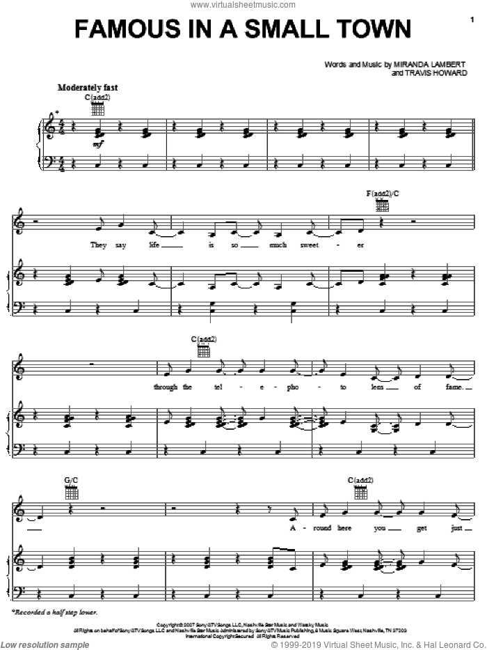 Famous In A Small Town sheet music for voice, piano or guitar by Miranda Lambert and Travis Howard, intermediate skill level