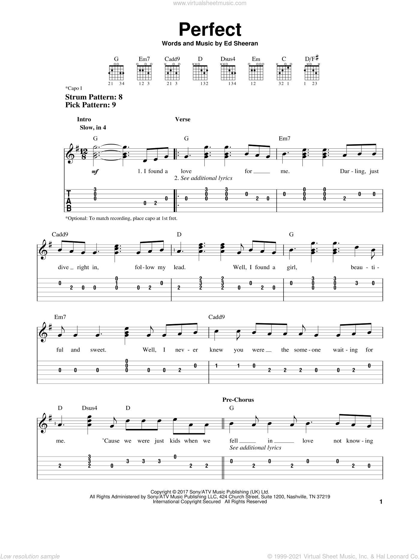 Perfect sheet music for guitar solo (easy tablature) by Ed Sheeran, wedding score, easy guitar (easy tablature)