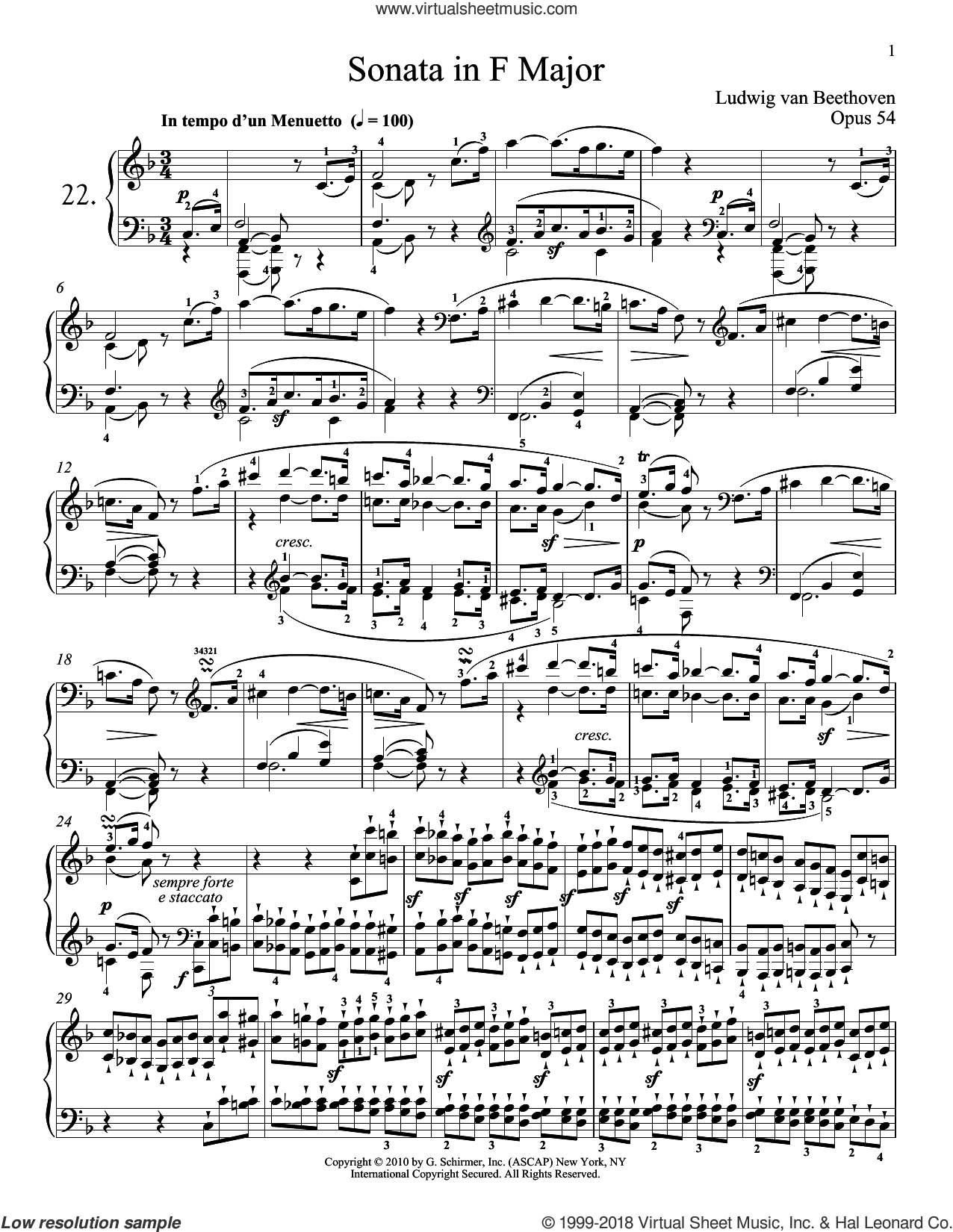 Piano Sonata No. 22 In F Major, Op. 54 sheet music for piano solo by Ludwig van Beethoven and Robert Taub, classical score, intermediate skill level