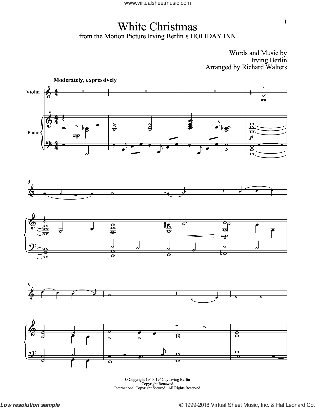 White Christmas sheet music for violin and piano by Irving Berlin, classical score, intermediate skill level
