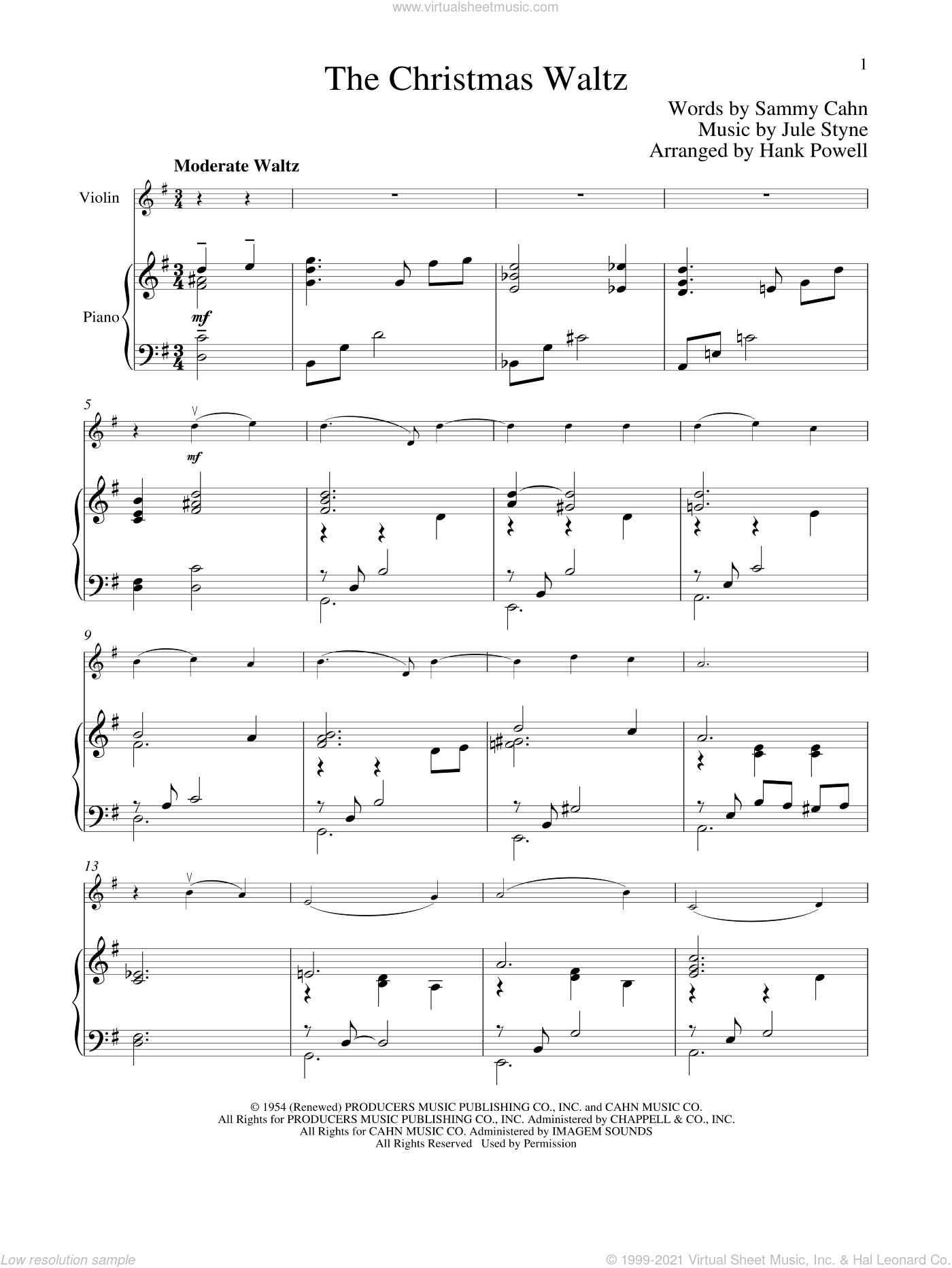 The Christmas Waltz sheet music for violin and piano by Sammy Cahn and Jule Styne, intermediate skill level