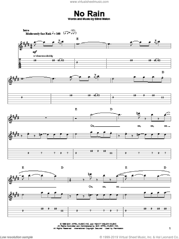 No Rain sheet music for guitar (tablature, play-along) by Blind Melon, intermediate skill level