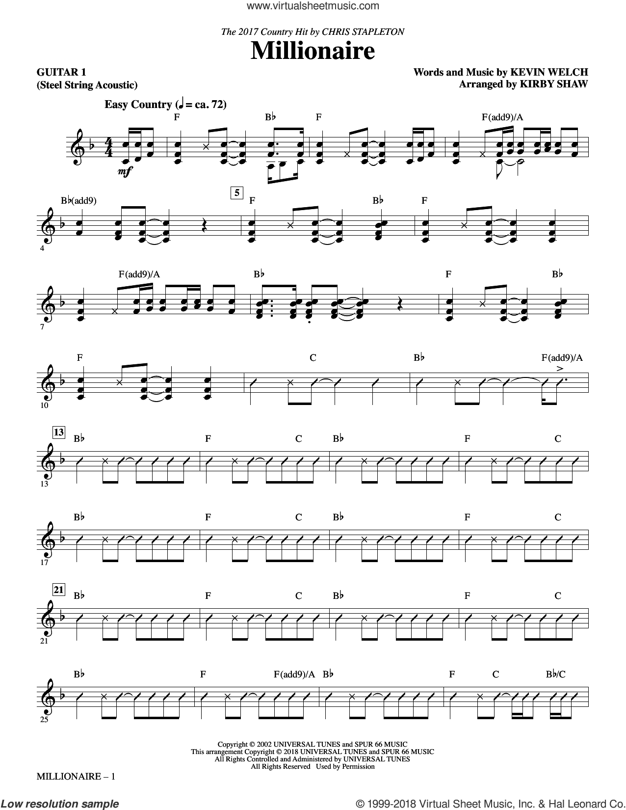Millionaire (complete set of parts) sheet music for orchestra/band by Kirby Shaw, Chris Stapleton and Kevin Welch, intermediate skill level