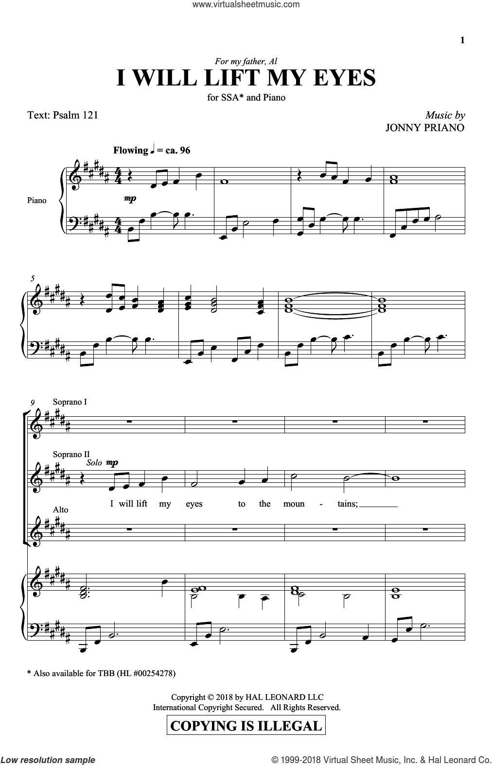 I Will Lift My Eyes sheet music for choir (SSA: soprano, alto) by Jonny Priano and Miscellaneous, intermediate skill level