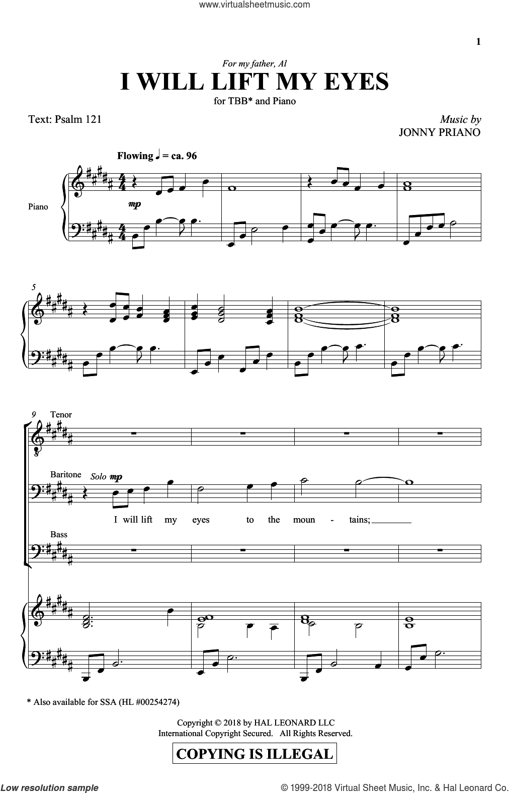 I Will Lift My Eyes sheet music for choir (TBB: tenor, bass) by Jonny Priano and Miscellaneous, intermediate skill level