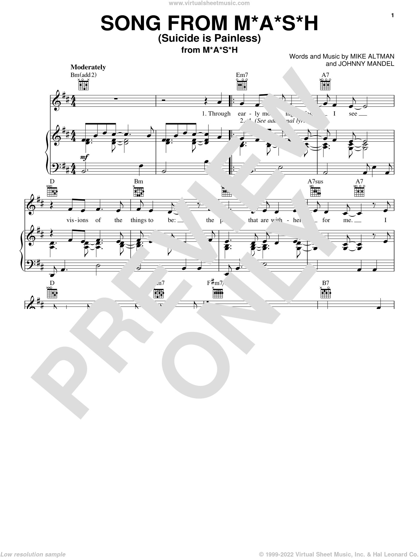 Song From M*A*S*H (Suicide Is Painless) sheet music for voice, piano or guitar by Johnny Mandel and Mike Altman, intermediate skill level