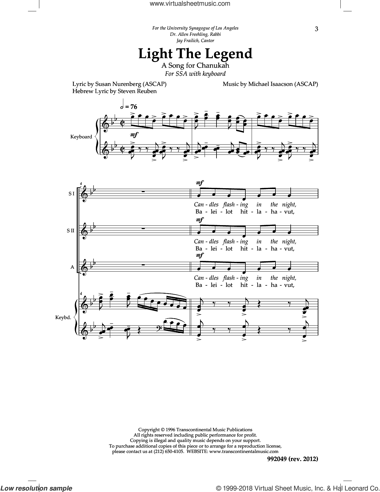 Light The Legend sheet music for choir (SSA: soprano, alto) by Michael Isaacson, intermediate skill level